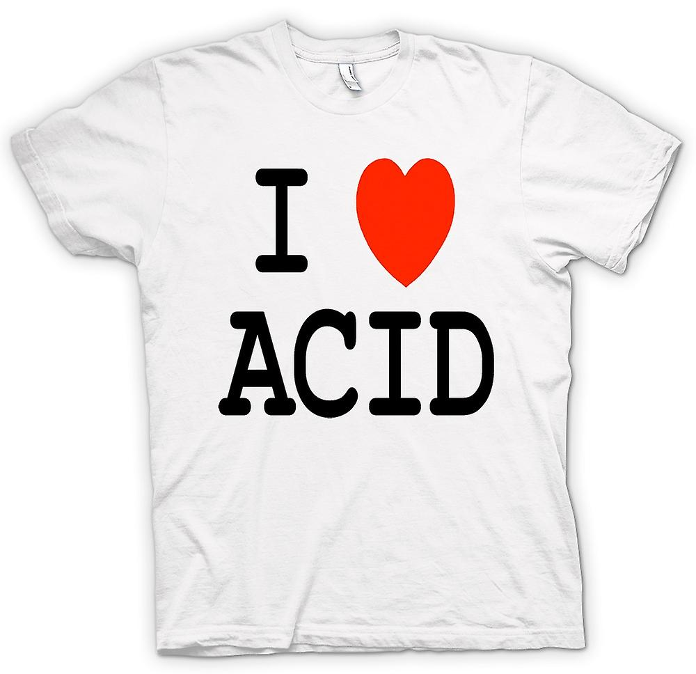 Mens T-shirt - I Love Heart Acid - Funny