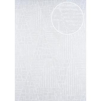 Graphic wallpaper ATLAS 5138-1 non-woven wallpaper imprinted with stripes white shimmering white perl perl gold 7,035 m2