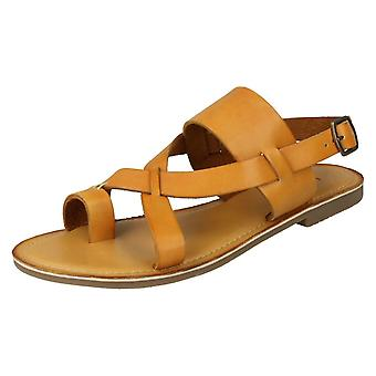 Ladies Leather Collection Toeloop Sandals F00127 - Tan Leather - UK Size 7 - EU Size 40 - US Size 9