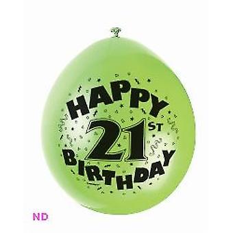 "Balloons HAPPY 21st BIRTHDAY 9"" Latex (10)"