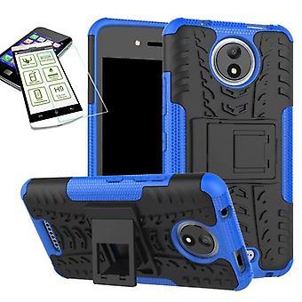 Hybrid case 2 piece blue for Motorola Moto C plus + tempered glass