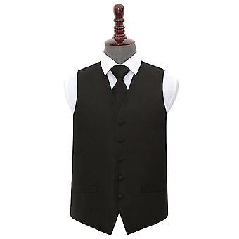 Svart Paisley bryllup vest & Tie sett