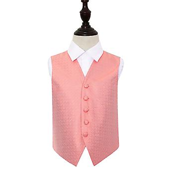Coral Greek Key Wedding Waistcoat for Boys