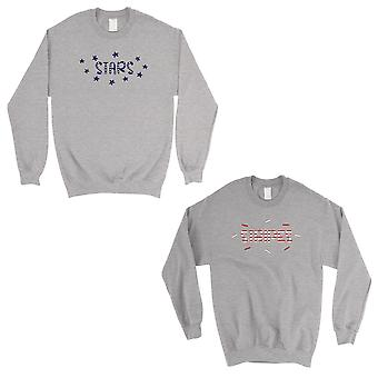 Stars And Stripes BFF Matching Sweatshirts Gift Grey 4th Of July