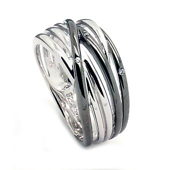 Orphelia Silver 925 Ring Lines Black  ZR-6038/2