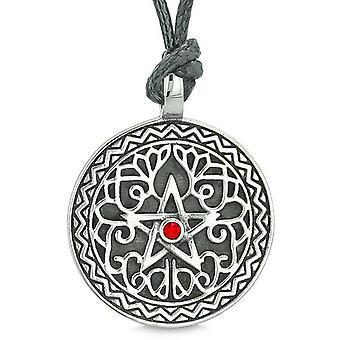 Amulet Pentacle Magic Star Celtic Defense Powers Pentagram Red Crystal Pendant Cord Necklace