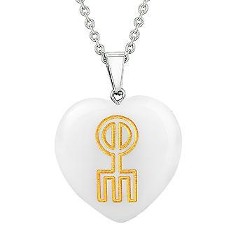 Amulet norrøne Rune kjærlighet Spell krefter beskytte energi Snowflake kvarts Puffy hjerte anheng halskjede