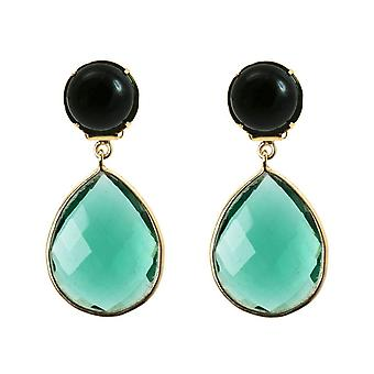 GEMSHINE earrings or earrings with Black Onyx and tourmaline gemstone drops. High-quality gold-plated earrings. Made in Munich, Germany. Delivered in the elegant jewelry.