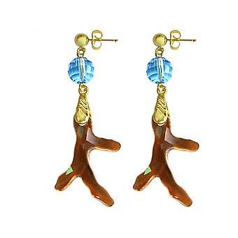 Damen - Ohrringe - Vergoldet - Koralle - Goldbraun Orange - Blau - 3,5 cm
