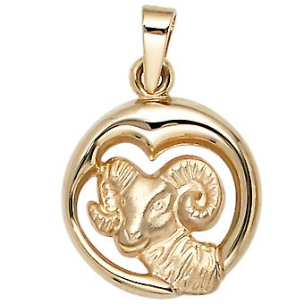 Aries pendant gold pendant star sign Aries 375 partially frosted gold yellow gold