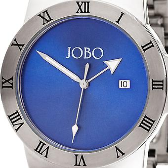 JOBO men's wrist watch blue quartz analog stainless steel date watch
