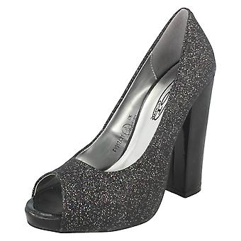 Ladies Spot On Peep Toe Court Shoe