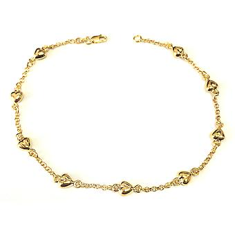 14K Yellow Gold Puffed Hearts Anklet, 10