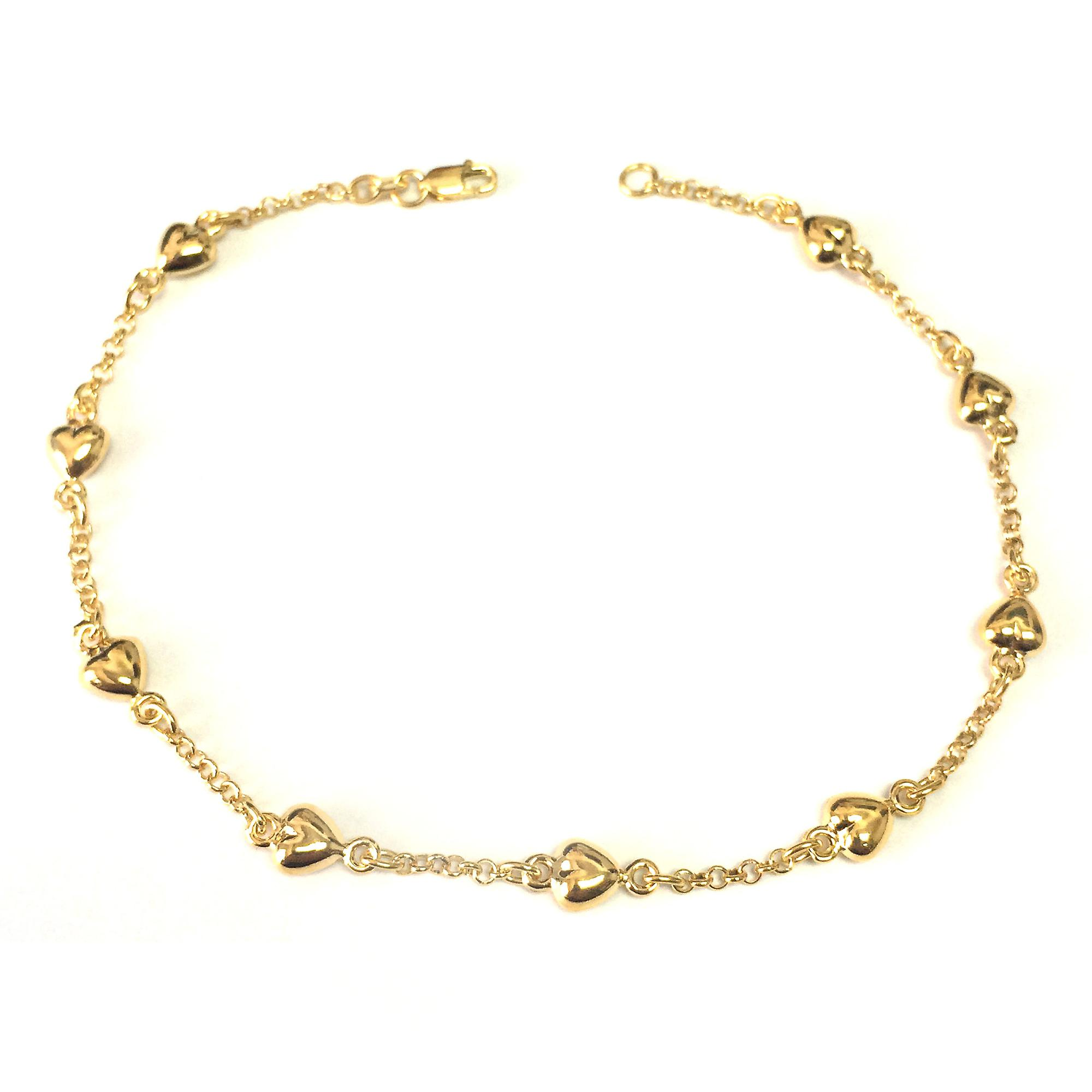 14K jaune or Puffed Hearts Anklet, 10& 034;