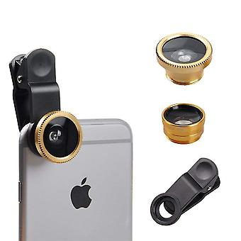 ONX3 (Gold) Mobile Phone Universal Camera Lens 3 in 1 Kit Wide Angle + Fisheye + Macro Lens For Spice MI-710