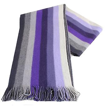 Bassin and Brown Thompson Striped Wool Scarf - Purple/Grey/Lilac