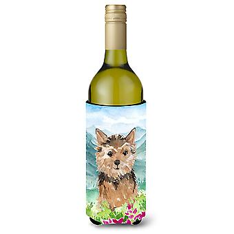 Mountian Flowers Norwich Terrier Wine Bottle Beverage Insulator Hugger