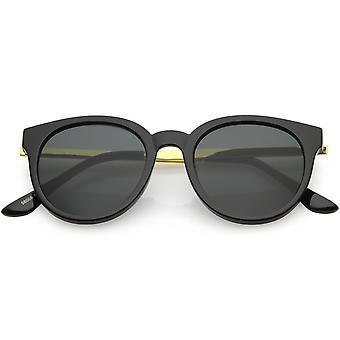 Vintage Horn kantede runde solbriller Metal Arm rundt linse 52mm