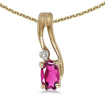 10k Yellow Gold Oval Pink Topaz And Diamond Wave Pendant with 18