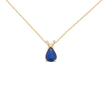 14k Yellow Gold Pear Shaped Sapphire Pendant with 18