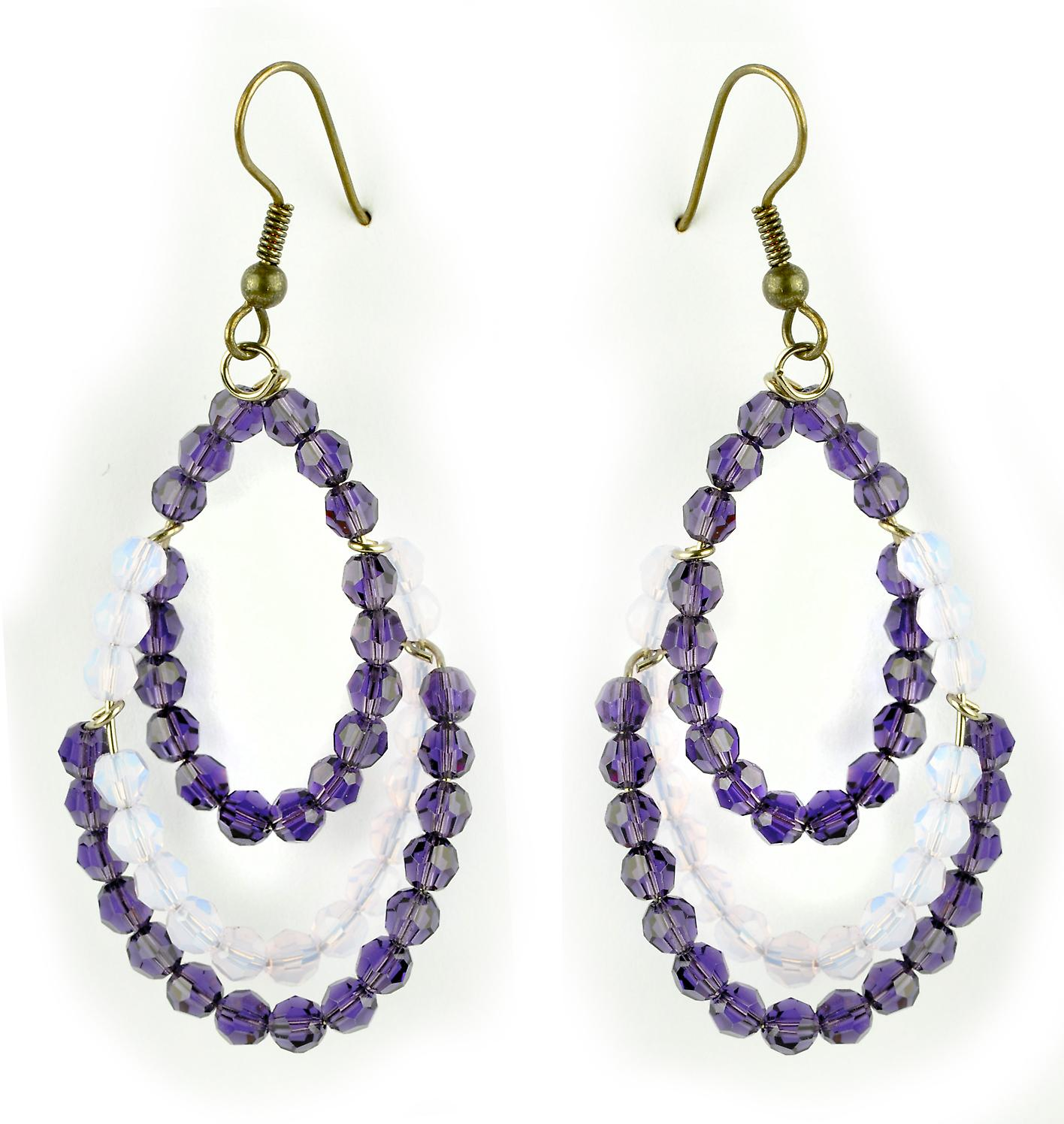 Waooh - Fashion Jewellery - WJ0719 - On Earrings with Swarovski Lila & Purple - Frame Color Silver