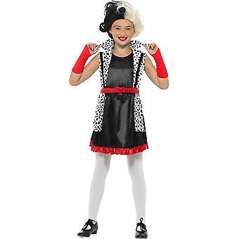 Cruella Deville Evil Little Madame Costume, Girls Fancy Dress, Small Age 4-6