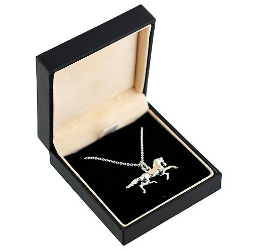 Silver 13x26mm Running Horse Pendant with a rolo Chain 16 inches Only Suitable for Children