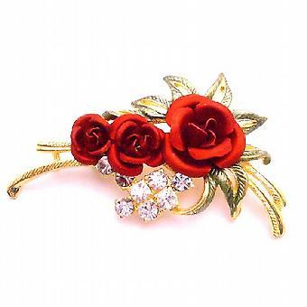 Drücken Sie Ihre Liebe Jederzeit w / Red Rose Brosche Emaille Schöne Blätter