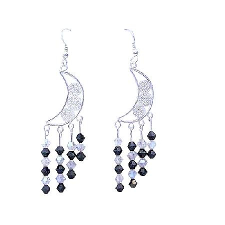 Moonlite & Jet Swarovski Crystal Sterling 92.5 Chandelier Earrings