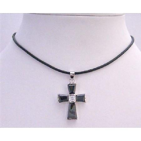 Black Cross Pendant Leather Cord w/ Crystal Cross Pendant Necklace