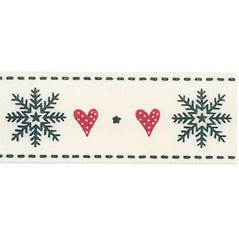 15mm Christmas Craft Ribbon - 4m - Hearts and Snowflakes
