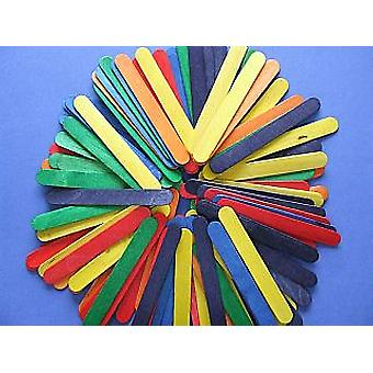 25 Wooden Large Craft Lolly Sticks - Coloured   Wooden Shapes for Crafts
