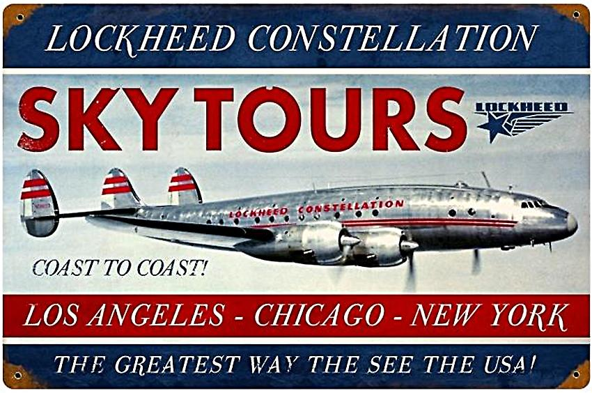 Lockheed Constellation Skytours rusted metal sign   (pst 1812)
