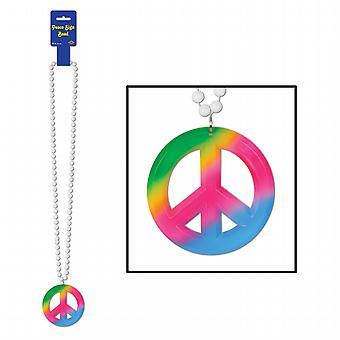 Beads w/Tie-Dyed Peace Sign Medallion 36""