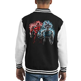 Dragon Ball Z Jiren Vs Goku rot blauen Flammen Kid es Varsity Jacket