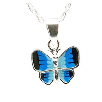 The Olivia Collection Sterling Silver Blue Enamel Butterfly Pendant