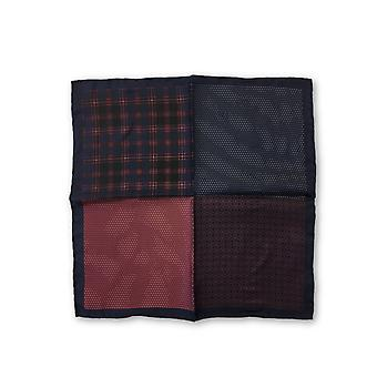 Olymp pocket square with 4 panels in navy and red patterns