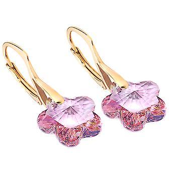 Ah! Smycken 24K guld vermeil över sterling silver ljus Rose kristaller från Swarovski blomma örhängen