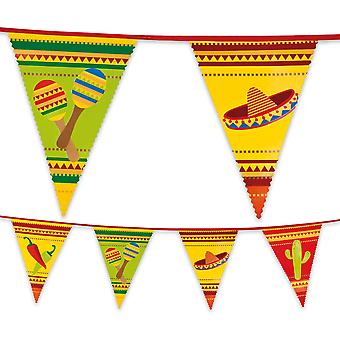 Multi Coloured Plastic Mexican Bunting Fiesta 6m Long Summer Garden Party Decoration
