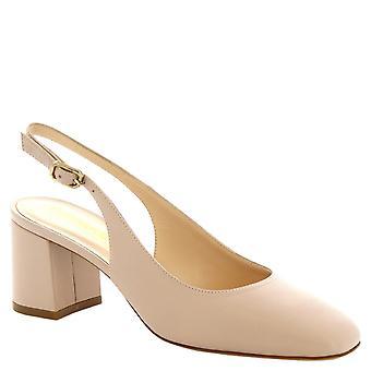 Kvinnors handgjorda kvadrat tå slingback skor i beige kalv läder 6 cm