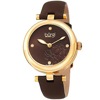 Burgi Women's Diamond Accented Flower Dial Watch - Comfortable Leather Strap BUR197BR