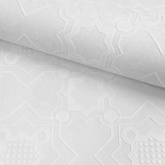 White Paintable Wallpaper Vinyl Embossed Textured Tile Washable Muriva Decorus