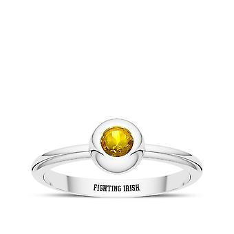 University Of Notre Dame - Fighting Irish Engraved Yellow Sapphire Ring
