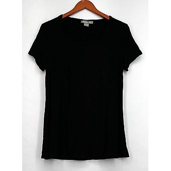 Kate & Mallory Top Short Sleeve Scoop Neckline Cut Out Tie Back Black A432243