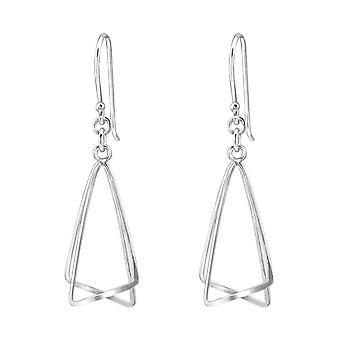 Double Scalene Triangle - 925 Sterling Silver Plain Earrings - W31019X