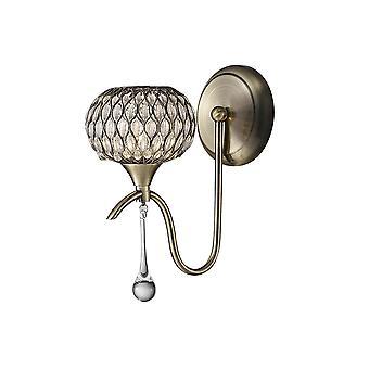 Diyas Chelsie Wall Lamp 1 Light Antique Brass/Clear Glass