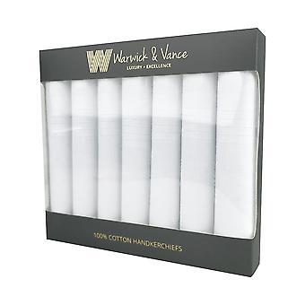 7 Pack Herren/Gentlemens Taschentücher Baumwolle weiß Satin Streifen Grenze Geschenk verpackt