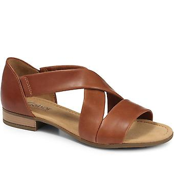 Leather sandal with crossover straps - gab