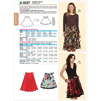 Skirts  Xs  S  M  L  Xl Pattern K3637