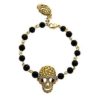 Butler & Wilson 2 Crystal Skull Bead Bracelet - Gold